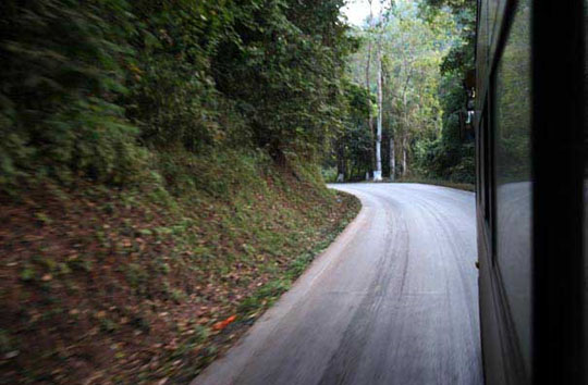 The road narrows through Xishuangbanna, winding around the edge of the national reserve - Andy Scott/ASIA BRIEFING