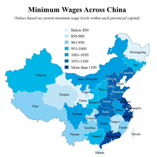For Specific City By City Figures The Table Below Lists The Monthly Minimum Wage Levels Of 50 Major Cities Across China