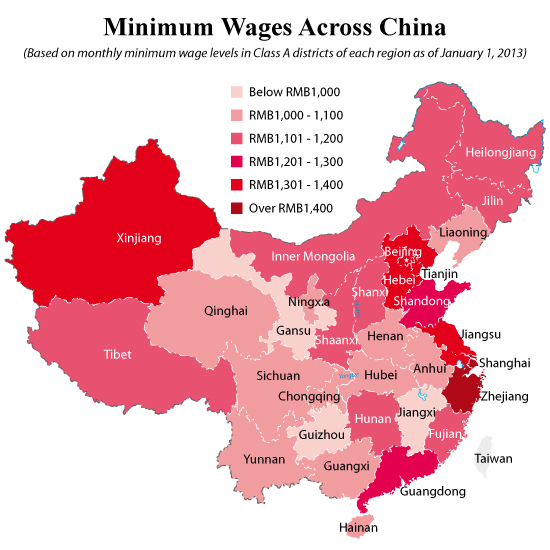 Monthly And Hourly Minimum Wage Levels Across All Munilities And Provinces In China Can Be Found In The Charts And Graphics Below