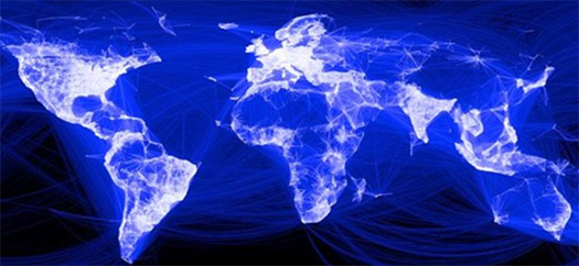 Map showing how all the world is connected through Facebook (note the black void over China)