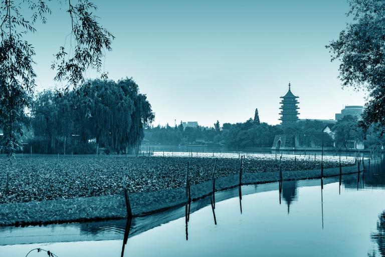 China Jiaxing South Lake parks and pagoda landscape.