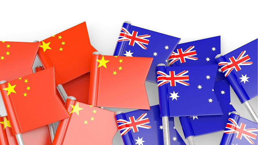 Flags-Of-China-And-Australia-Isolated-On-White