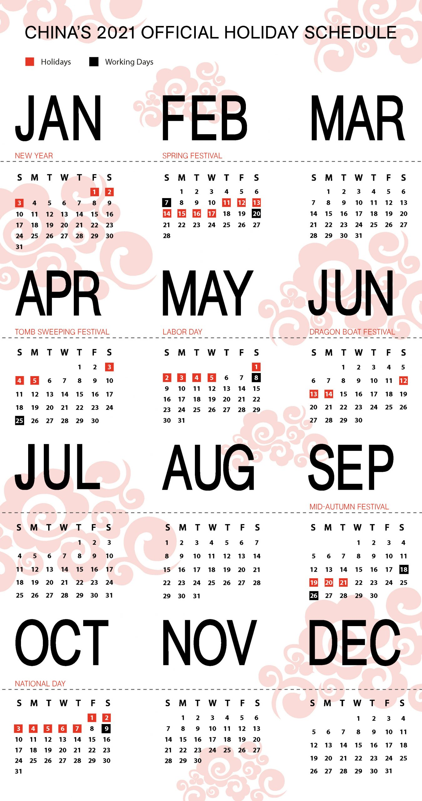 Working Days Calendar 2021 Pictures
