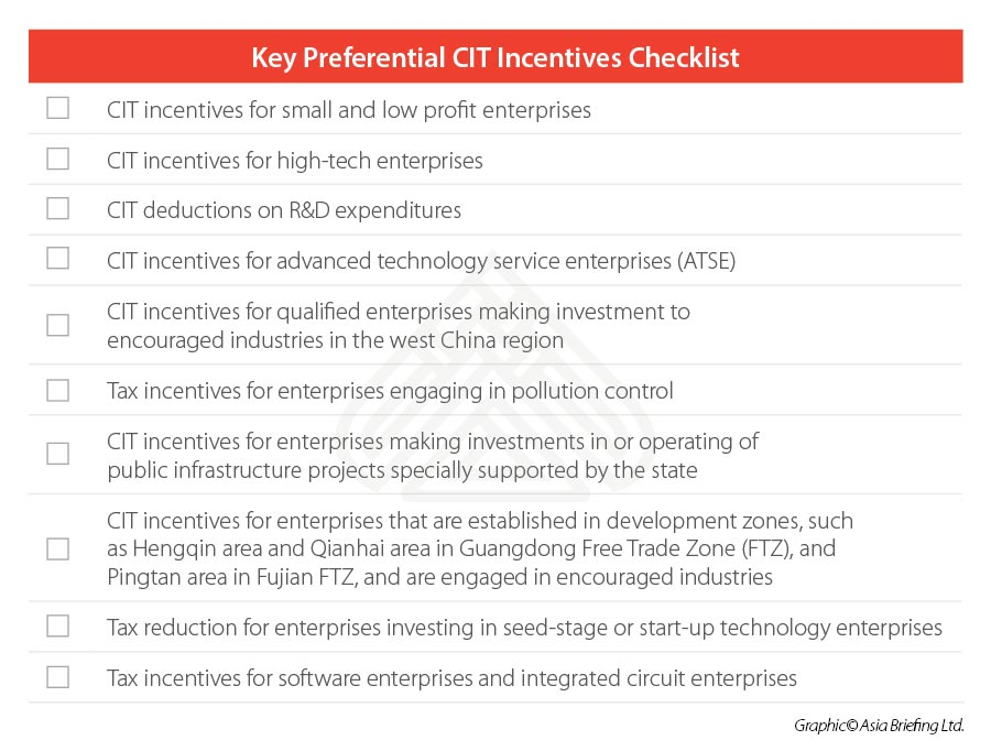 China-CIT-Incentives-Checklist